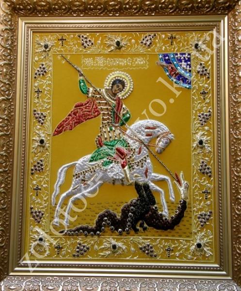 Георгий победоносец вышивка камнями